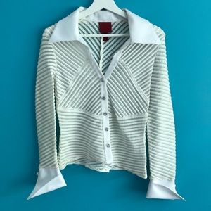 JS Collection Dressy White Sheer Stripe Top Size 6